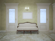 Elegant bench between two doors Stock Image