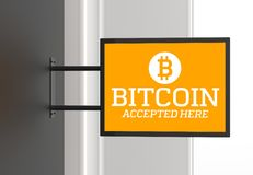 Elegant bitcoin accepted here signboard. 3D illustrating. Elegant bitcoin accepted here signboard. 3D illustrating Stock Photos