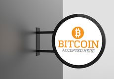 Elegant bitcoin accepted here signboard. 3D illustrating. Elegant bitcoin accepted here signboard. 3D illustrating Royalty Free Stock Photos