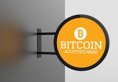 Elegant bitcoin accepted here signboard. 3D illustrating. Elegant bitcoin accepted here signboard. 3D illustrating Royalty Free Stock Photography