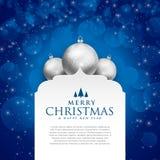 Elegant blå glad jul planlägger med silverbollar Arkivfoto