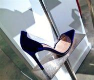 Elegant blå mockaskinnstilett Arkivbilder