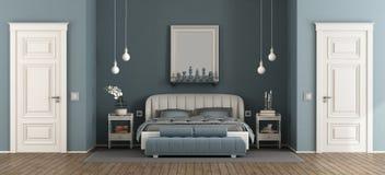 Elegant blått ledar- sovrum stock illustrationer