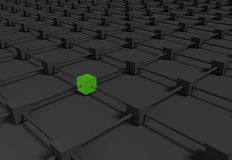 Elegant black abstract metallic background with a lot of cubes. Many rendered 3d cubes arranged in geometric with differents colors Stock Image