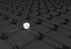 Elegant black abstract metallic background with a lot of cubes. Many rendered 3d cubes arranged in geometric with differents colors Stock Photo