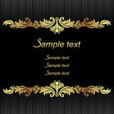 Elegant black Background with golden Borders for invitation design Royalty Free Stock Photo