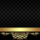 Elegant black Background with golden Ribbon Royalty Free Stock Photography