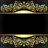 Elegant black Background with royal golden Borders. Stock Image