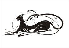 Elegant black cat. On white bg Stock Photography