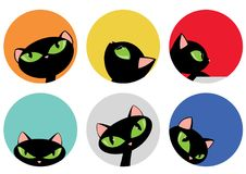 Elegant Black Cat Heads in Colorful Circle Design Set Vector Illustration. All elements are grouped together logically and easy to edit royalty free illustration