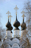 Elegant Black Domes of Troitskaya church in Murom. Troitskiy sobor (The Holy Trinity Cathedral) was built on Krestyanskaya (Peasant's) square of Murom by local Stock Image