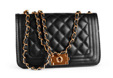 Elegant black female bag over white background Royalty Free Stock Photo