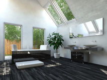 Elegant Black Flooring Living Room Stock Photography