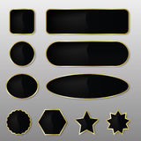 Elegant Black-Gold Vector Web Buttons Stock Image