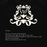 Elegant black invitation card with a texture and foliage executed in Victorian style with a crown and an inscription VIP. Royalty Free Stock Image