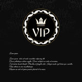 Elegant black invitation card with a texture and round ornament executed in Victorian style with a crown and an inscription VIP. Royalty Free Stock Photo