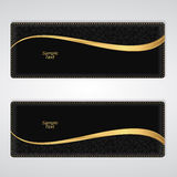 Elegant black leather horizontal banner with a gold stripe. Royalty Free Stock Image