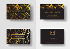 Elegant black luxury business cards with marble texture and gold detail vector template, banner or invitation with. Golden foil details. Branding and identity Stock Image