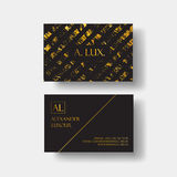 Elegant black luxury business cards with marble texture and gold detail vector template, banner or invitation with Royalty Free Stock Photos