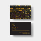 Elegant black luxury business cards with marble texture and gold detail vector template, banner or invitation with Stock Photo