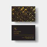 Elegant black luxury business cards with marble texture and gold detail vector template, banner or invitation with Stock Image