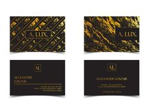 Elegant black luxury business cards with marble texture and gold detail vector template, banner or invitation with Royalty Free Stock Image