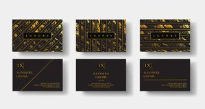 Elegant black luxury business cards Set with marble texture and gold detail vector template, banner or invitation with Stock Image