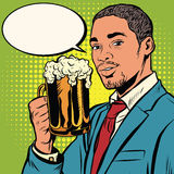 Elegant black man with a beer Stock Photography