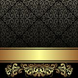 Elegant black ornamental Background with golden Ribbon and floral Border Royalty Free Stock Photos