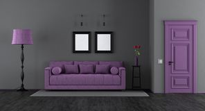 Elegant black and purple living room Royalty Free Stock Image