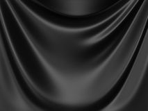 Elegant black silk fabric cloth luxury background. 3d render illustration Royalty Free Stock Photos