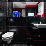 Elegant black tiles in bathroom. Stylish bathroom with elegant black tiles, red details, mirror and white basin and toilet Stock Image