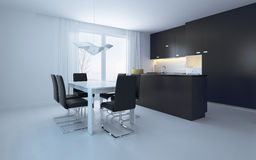 Elegant Black and White Dining Area Stock Images