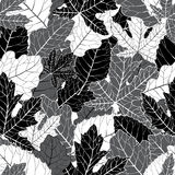 Elegant black and white foliage seamless pattern. Great for wallpaper, seasonal background and texture design Royalty Free Stock Photography