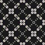 Elegant black and white geometric ornament with small flower shapes, rhombuses, delicate lattice, mesh, net. vector illustration