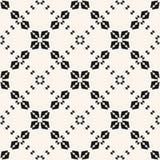Elegant black and white geometric ornament with small flower shapes, rhombuses, diamonds, delicate lattice, mesh, net. vector illustration