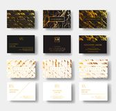 Elegant black and white luxury business cards Set with marble texture and gold detail vector template, banner or Stock Image