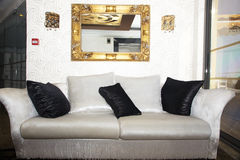 Elegant black and white sofa Royalty Free Stock Images