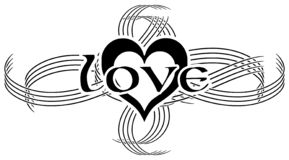 Elegant black and white tattoo with the word love, isolated stock illustration