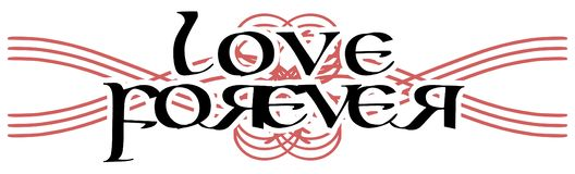 Elegant black and white tattoo with the words love forever isolated vector illustration