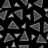 Elegant black and white triangle elements, memphis inspired seamless vector pattern. vector illustration