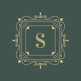 Elegant blom- mall för monogramlogodesign Royaltyfria Foton