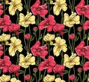 Elegant blom- seamless modell royaltyfri illustrationer