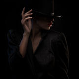 Elegant blond retro woman in hat Royalty Free Stock Photography