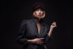 Elegant blond retro woman in hat Royalty Free Stock Photo