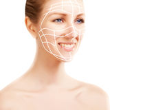 Elegant blond woman portrait with surgery marks on white Royalty Free Stock Photography