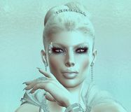 Elegant Blonde with a retro tint, abstract effect. Royalty Free Stock Image