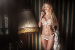 Elegant blonde sexy woman. Stock Photos