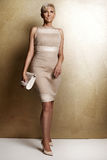 Elegant blonde woman in fashionable dress. Stock Photography