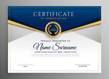 Free Elegant Blue And Gold Diploma Certificate Template Royalty Free Stock Image - 138889986
